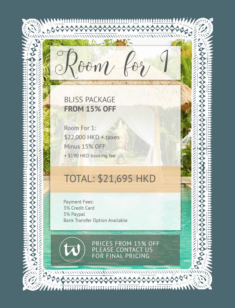 Room for 1 - Bliss Package 15% off HKD