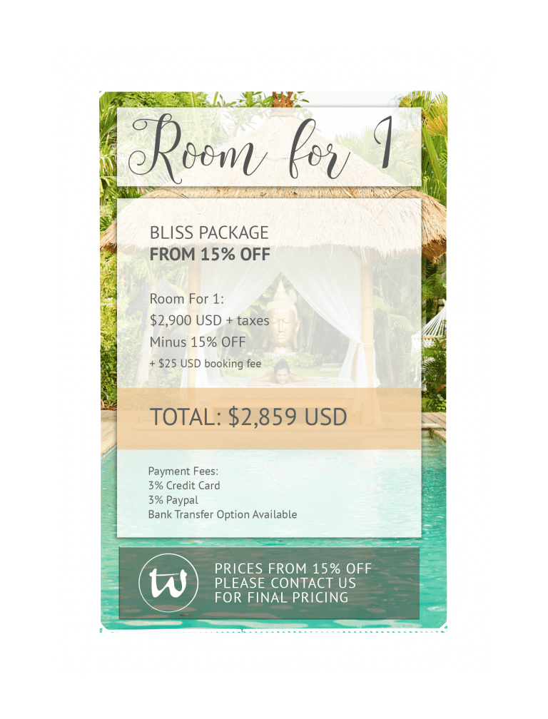 Room for 1 - Bliss Package 15% off USD
