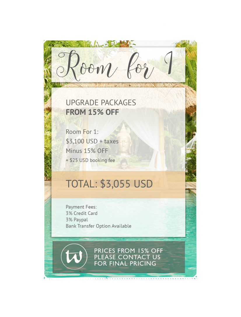 Room for 1 - Upgrade Package 15% off USD