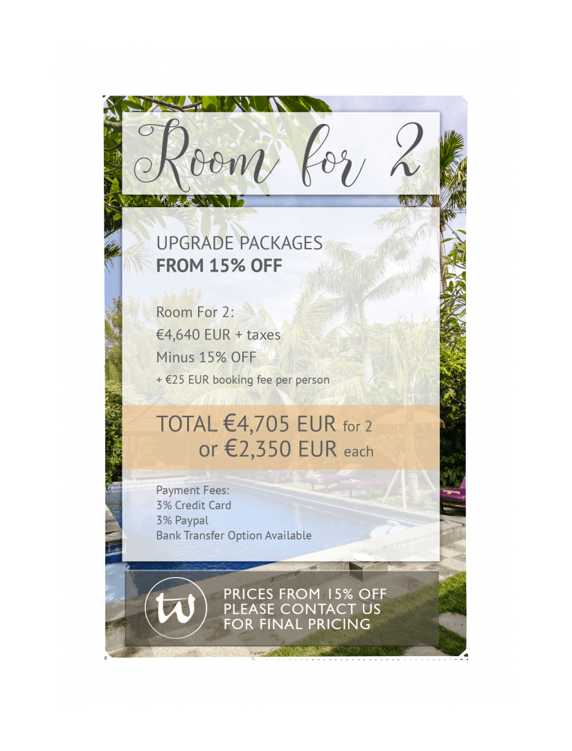 Room for 2 - Upgrade Package 15% off EUR