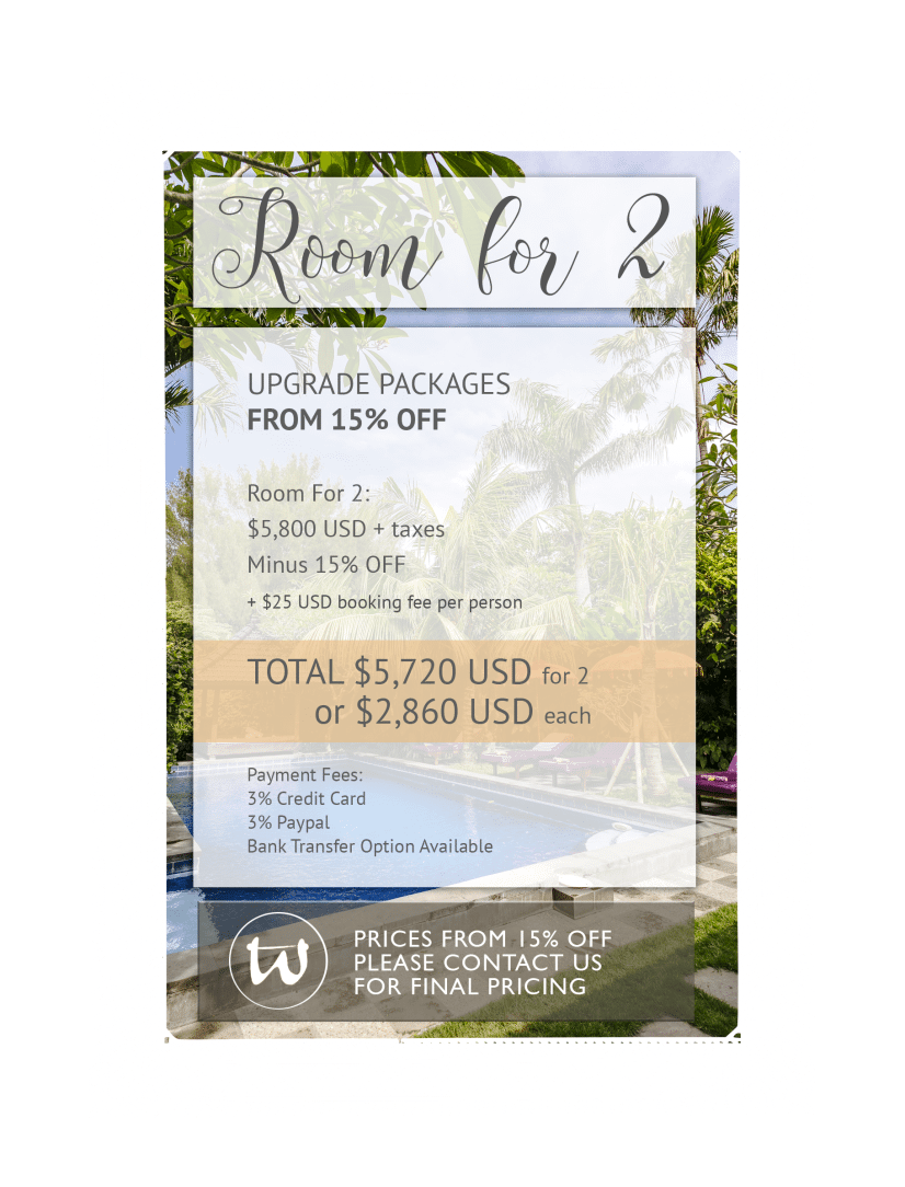 Room for 2 - Upgrade Package 15% off USD