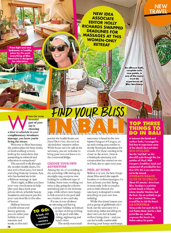 New Idea Magazine: Bliss Sanctuary for Women