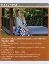Sunday Mail: My Sunday – Zoe Watson founder of Bliss Sanctuary For Women