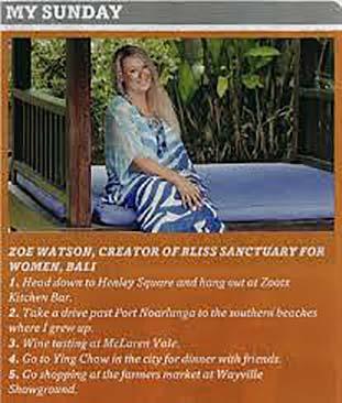 Sunday Mail: My Sunday – Zoë Watson creator of Bliss Sanctuary For Women