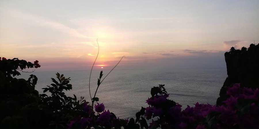 Beautiful sunset at Uluwatu Temple Bali