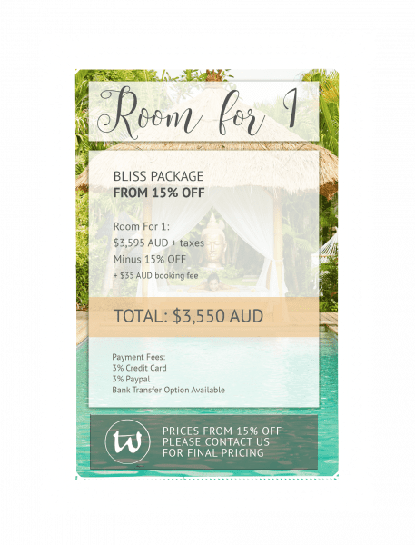 Room for 1 - Bliss Package 15% off AUD