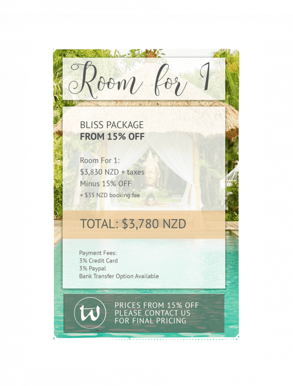 Room for 1 - Bliss Package 15% off NZD