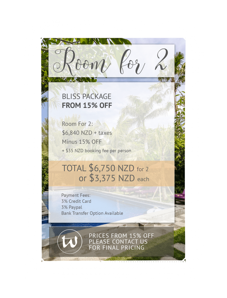 Room for 2 - Bliss Package 15% off NZD