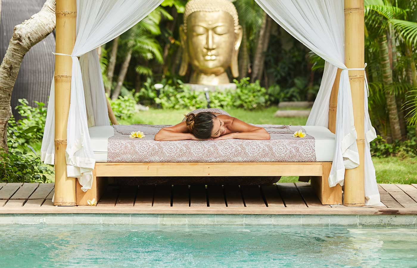 Relaxing by the pool at Bali retreat