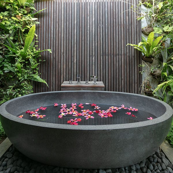 Luxury outdoor flower bath in Ubud Bali retreat