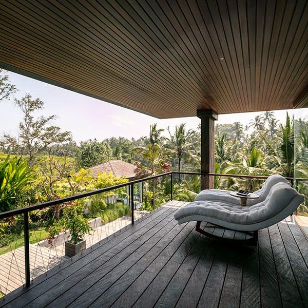 Balcony overlooking pool Ubud Sanctuary Bali Retreat