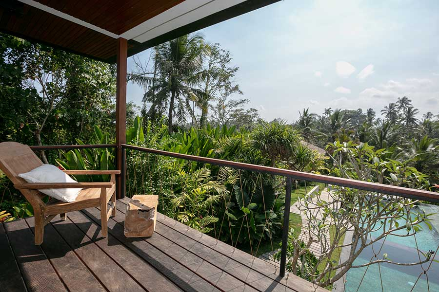 Balcony overlooking pool spa Ubud