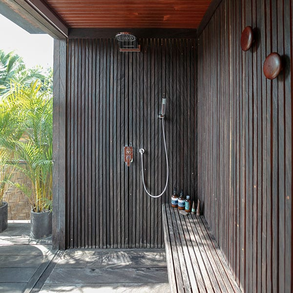 Beautiful outdoor bathroom with luxury natural toiletries Ubud Sanctuary Bali Retreat