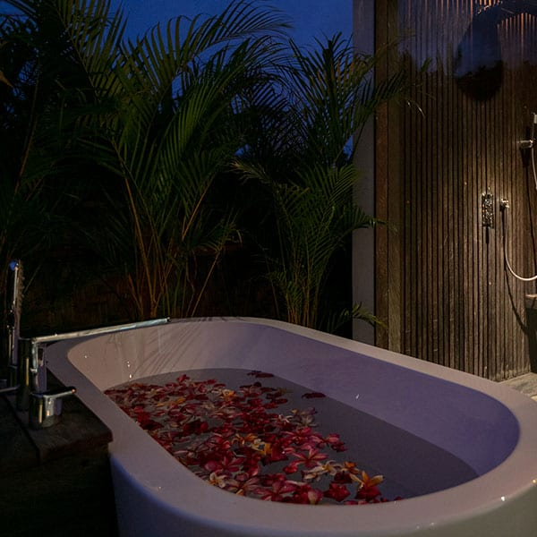 Beautiful outdoor flower bath Ubud Sanctuary Bali Retreat