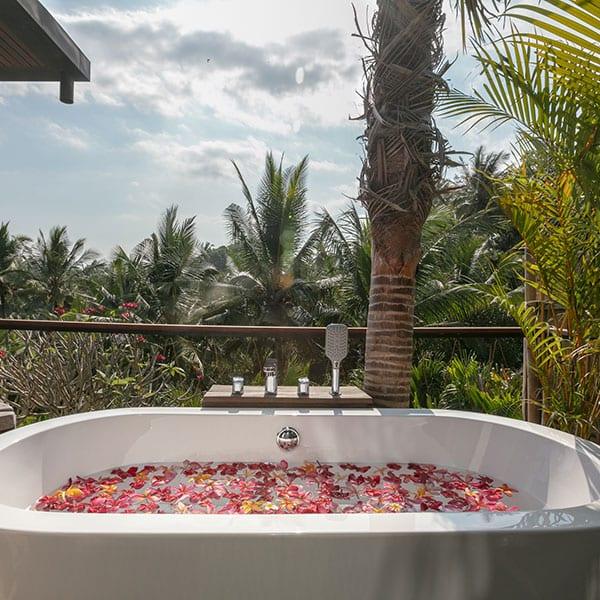 Beautiful rose bath Ubud Sanctuary Bali Retreat