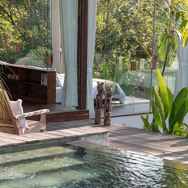 Bliss Ubud Sanctuary stunning bedroom overlooking pool area