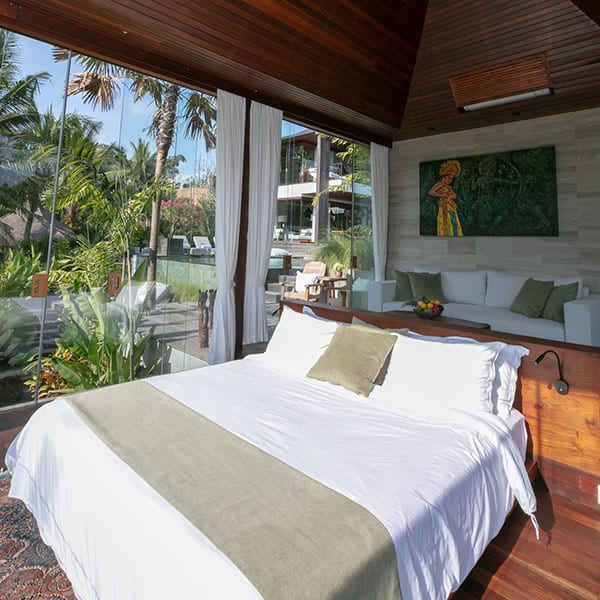 Bedroom in rainforest setting in luxury Ubud Bali Retreat