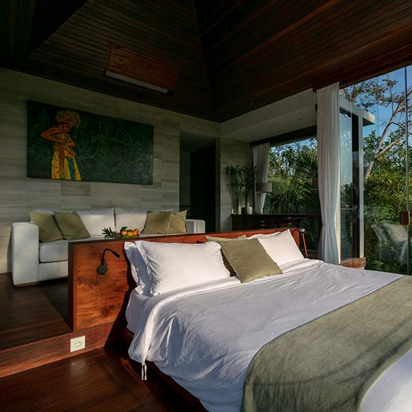Bedroom in Rainforest setting in luxury Ubud Bali Retreat