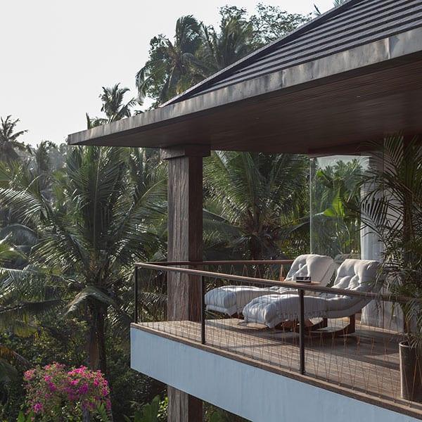 Deluxe Suite balcony amongst rainforest Ubud Sanctuary Bali retreat