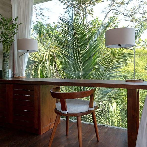Desk overlooking rainforest in Bali Ubud Retreat