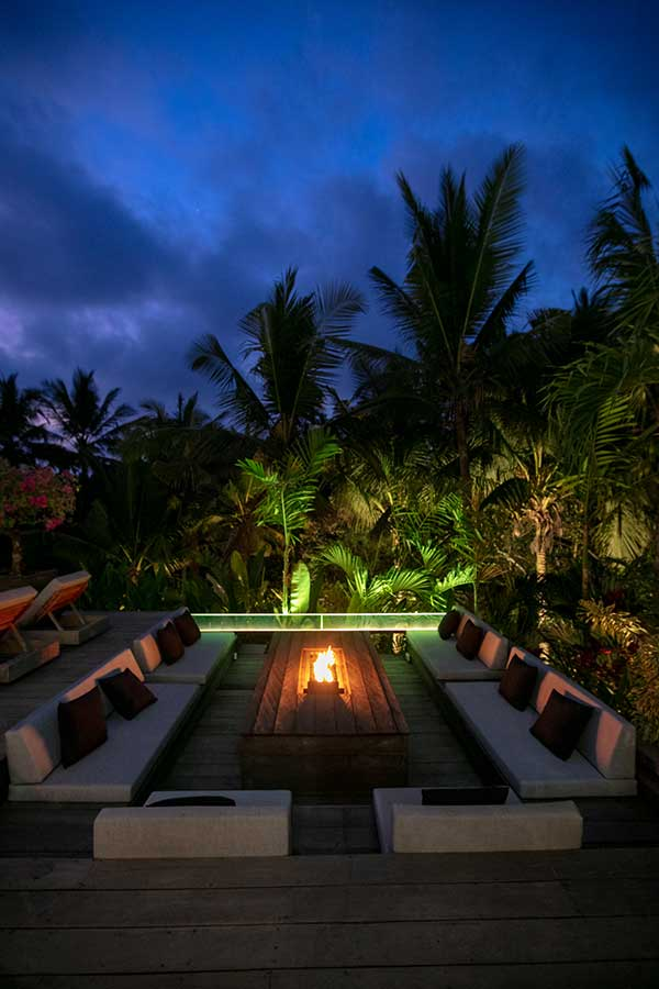 Incredible garden setting at night in relaxing spa Ubud, Bali