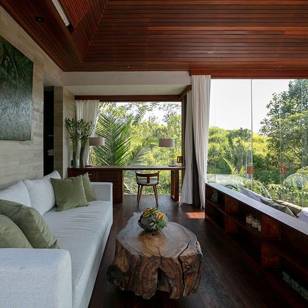 Luxury bedroom in rainforest setting in Ubud Bali Retreat
