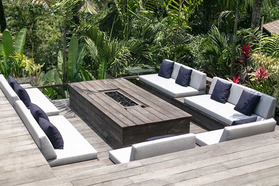 Outdoor couches on deck Ubud Bali accomodation