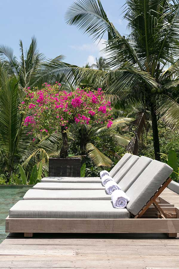 Relaxing poolside deck chairs Ubud Bali resort