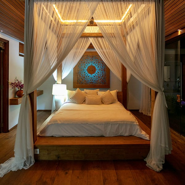 Stunning bed in Deluxe Suite Ubud Sanctuary Bali Retreat