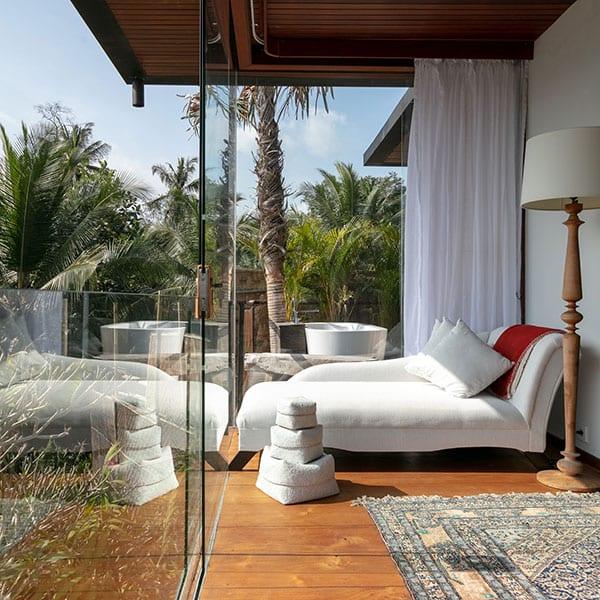 Stunning bedroom Deluxe Suite Ubud Sanctuary Bali retreat