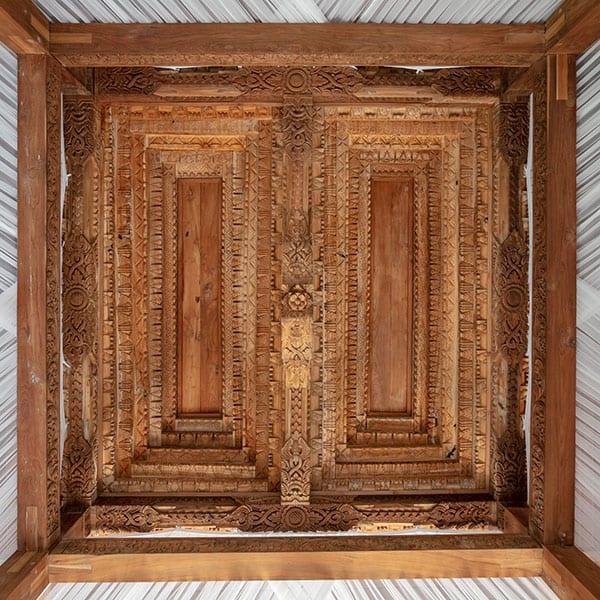 Stunning woodwork roof in Deluxe Suite Ubud Sanctuary Bali Retreat