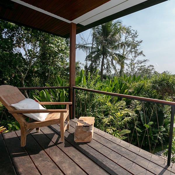 Rainforest Room balcony in Ubud Bali Retreat