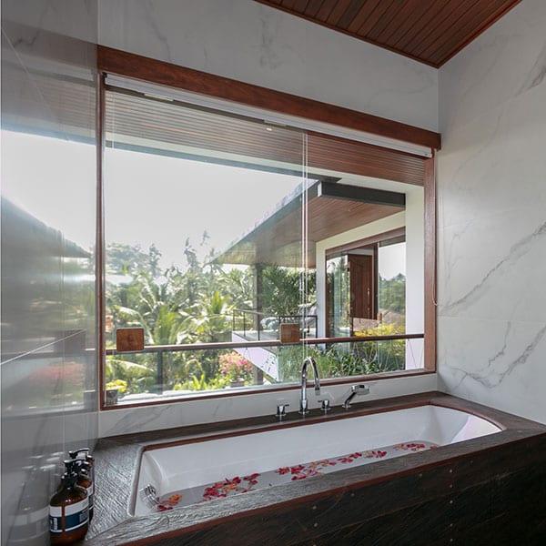 Gorgeous bathroom in Rainforest Room in Ubud Bali Retreat