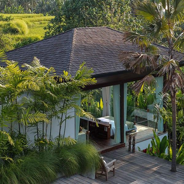Ubud luxury bedroom in pool garden setting in Bali Ubud Yoga Retreat