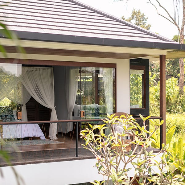 Ubud luxury Rainforest Room with balcony in Bali Retreat