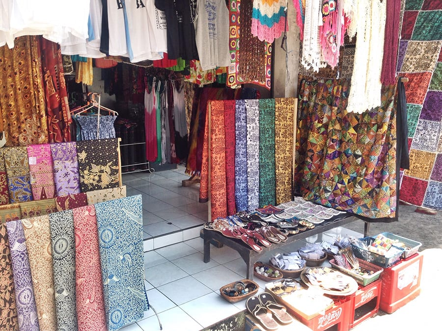 Colourful clothing and fabric at Ubud Markets Bali Holiday
