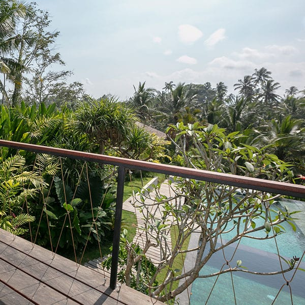 Ubud Rainforest Room overlooks pool in Bali Retreat