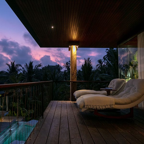 Ubud Sanctuary Bali retreat balcony overlooking pool