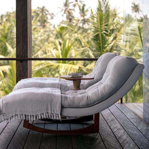 Ubud Sanctuary Bali Retreat gorgeous deck chairs on balcony