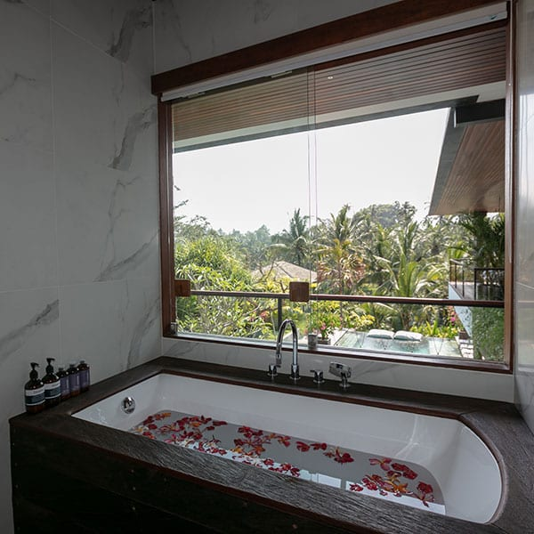 Ubud stunning bathroom in Rainforest Room in Bali Retreat