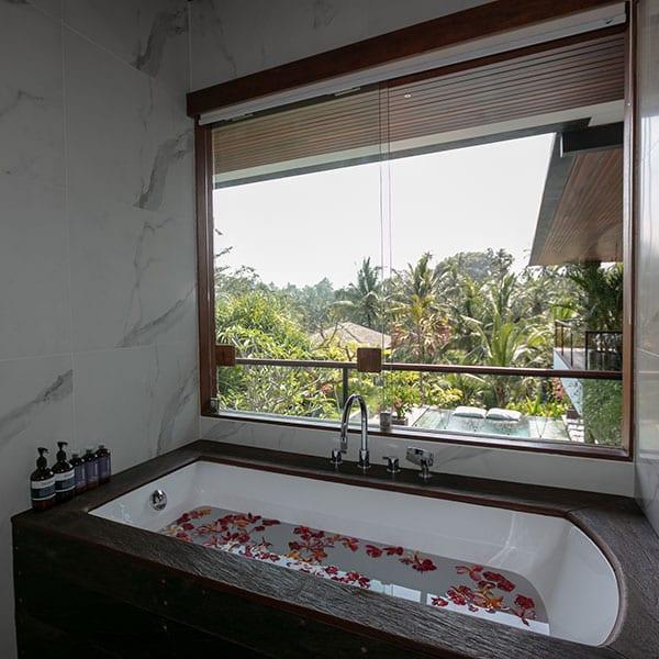 Ubud stunning bathroom in Rainforest Room in Bali Retreat