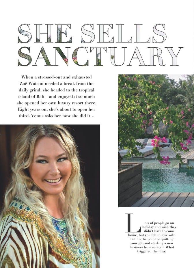 Venus Magazine - She Sells Sanctuary Article page 1 - Zoe Watson discusses opening Ubud retreat and running Bali retreats