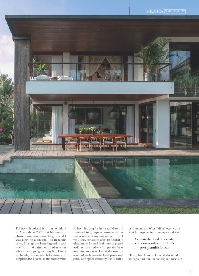 Venus Magazine - She Sells Sanctuary Article page 2 - Zoe Watson discusses opening Ubud retreat and running Bali retreats