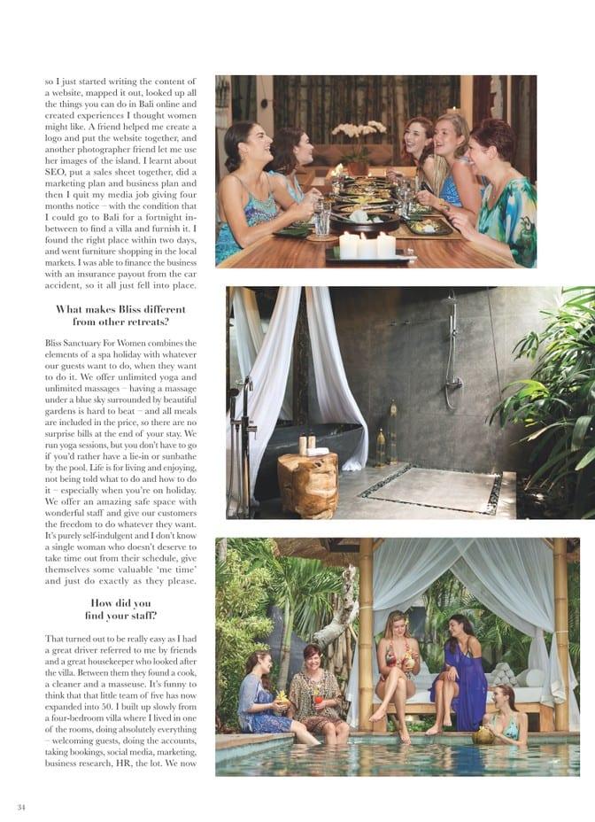 Venus Magazine - She Sells Sanctuary Article page 3 - Zoe Watson discusses opening Ubud retreat and running Bali retreats