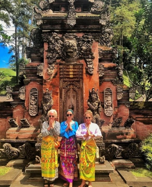 Lydia, Georgia and Debbie Bright at Bali temple