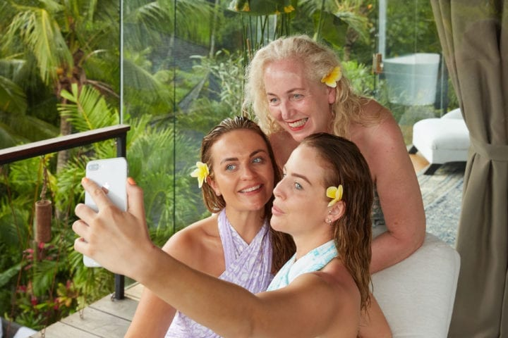 Lydia, Georgia and Debbie Bright at Bliss Bali retreat