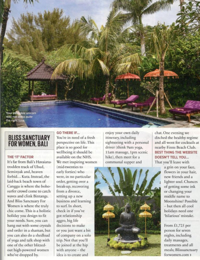 magazine clipping with photograph of swimming pool in tropical Bali garden