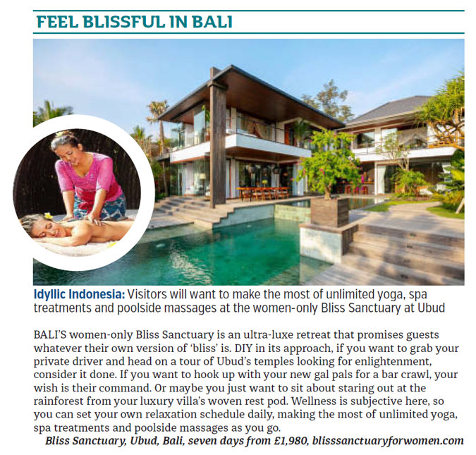 Bali villa and swimming pool. Insert of woman being massaged.