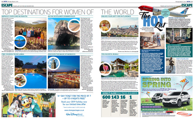 newspaper clipping - exotic holiday destinations around the world