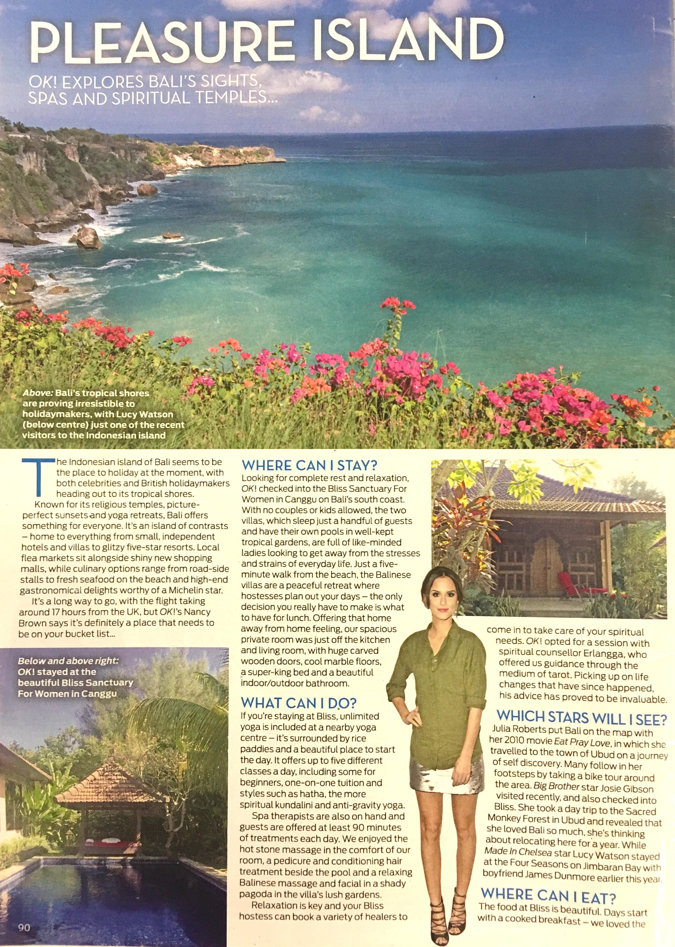 magazine clipping - Bali cliff side view over ocean. Bliss sanctuary for women pool and meditation shelter.